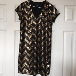 H&M black and gold sequin party dress